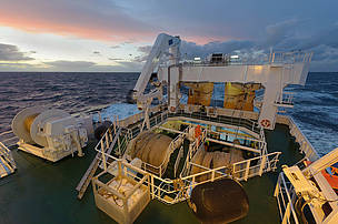 Deck of pelagic trawler, Scotland, UK
